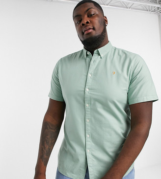 Farah Brewer slim fit short sleeve oxford shirt in green
