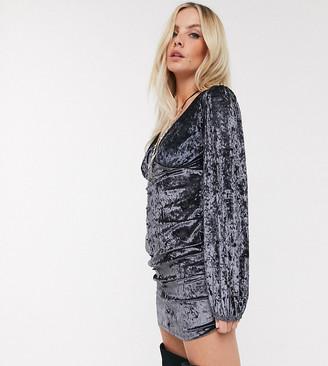 Asos DESIGN Petite button through velvet mini dress-Grey