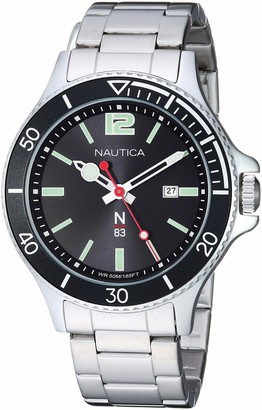 Nautica N83 Men's NAPABS910 Accra Beach Silver/Black Stainless Steel Bracelet Watch