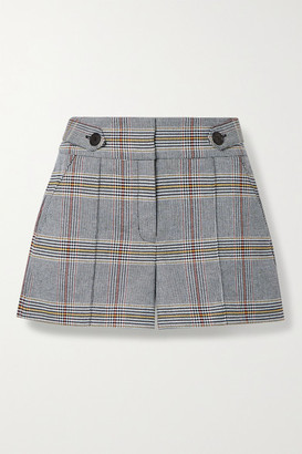 Veronica Beard Betty Checked Cotton-blend Shorts - Blue