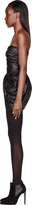 Balmain Black Leather Gathered Blossom Dress