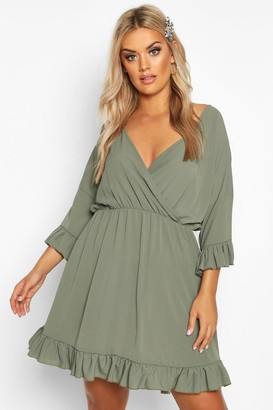 boohoo Plus Ruffle Sleeve Wrap Front Skater Dress