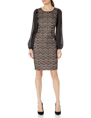 Donna Ricco Women's Sheer Long Sleeve Lace Sheath Dress