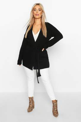 boohoo Plus Chunky Knitted Belted Boyfriend Cardigan