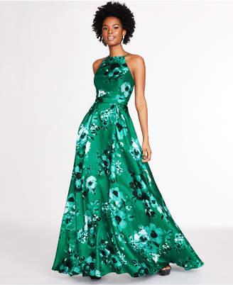 City Studios Juniors' Floral-Print Open-Back Gown