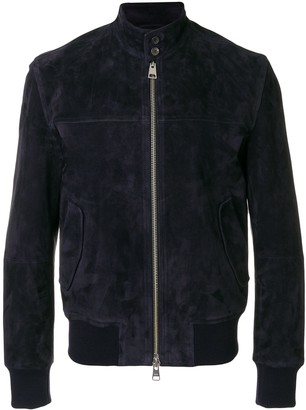 Ami suede leather zipped jacket Harrington collar