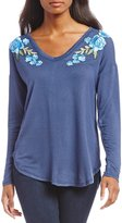 Bobeau Long Sleeve Floral Patch Details French Terry Top