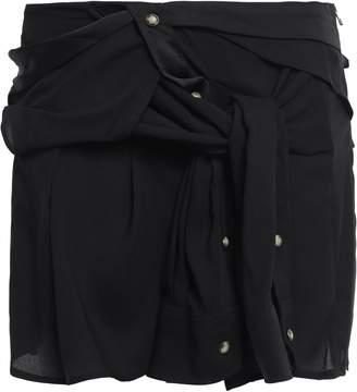 Faith Connexion Tie-front Satin-crepe Mini Skirt