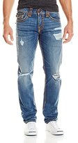 True Religion Men's Geno Flap Pocket Rip and Worn Super T Relaxed Slim Jean