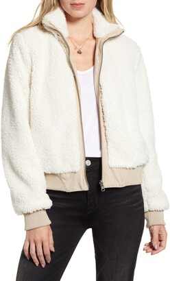 Cupcakes And Cashmere Kendal Reversible Faux Suede & Fleece Bomber Jacket