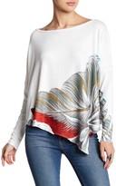 Couture Go Printed Asymmetrical Hem Dolman Sweater