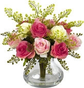 Asstd National Brand Nearly Natural Rose & Maiden Hair Floral Arrangement With Vase