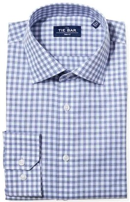 Tie Bar Heathered Gingham Slate Blue Non-Iron Dress Shirt