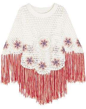 Chloé Fringed Embroidered Crocheted Cotton Poncho