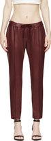 Christopher Kane Burgundy Coated Slim Trousers
