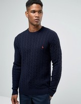 Jack Wills Merino Sweater In Cable Navy Donegal