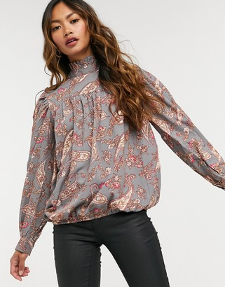 AX Paris high neck smock blouse in paisley