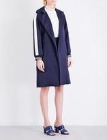 Sandro Satin-striped single-breasted woven coat