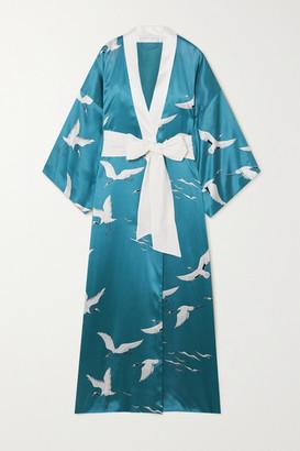 Olivia von Halle Queenie Printed Silk-satin Robe - Blue