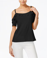 Bar III Cold-Shoulder Flounce Top, Only at Macy's