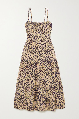 Faithfull The Brand Net Sustain Alexia Leopard-print Gathered Cotton-poplin Midi Dress