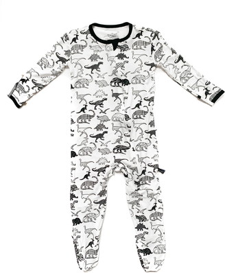Peregrine Kidswear White Dino Fitted One-Piece Pajamas