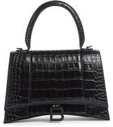 Balenciaga Medium Hourglass Croc Embossed Calfskin Top Handle Bag