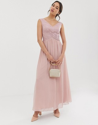 Little Mistress wrap front maxi dress-Pink