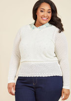 ModCloth Sweetest Subtleties Long Sleeve Top in Blanc in XL
