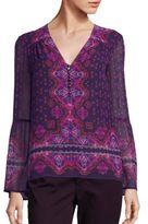 Nanette Lepore Temple Silk Bell Sleeve Top