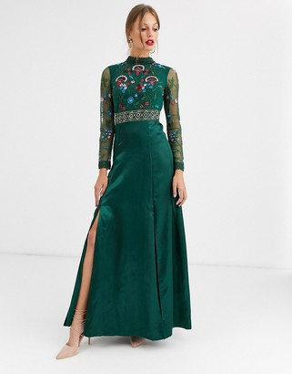 Frock and Frill embroidered long sleeve maxi dress-Green