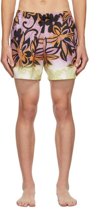 Dries Van Noten Purple Floral Swim Shorts