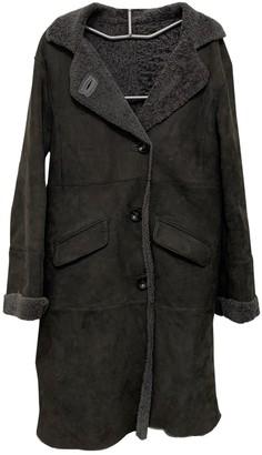 Gerard Darel Grey Shearling Coat for Women