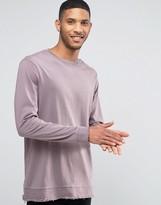 Asos Longline Long Sleeve T-Shirt With Distressed Hem Panel