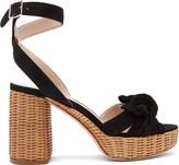 Miu Miu Bow-front Suede And Wicker Platform Sandals - Womens - Black