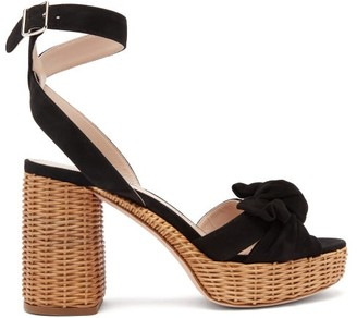 Miu Miu Bow-front Suede And Wicker Platform Sandals - Black