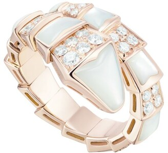Bvlgari Rose Gold, Diamond and Mother-of-Pearl Serpenti Ring