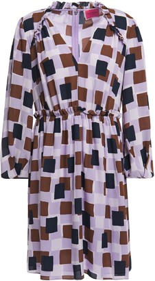 Kate Spade Gathered Ruffle-trimmed Printed Crepe De Chine Mini Dress
