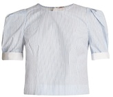 ADAM by Adam Lippes Pleated-sleeve striped cotton top