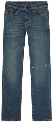 Saint Laurent Low-Rise Skinny Ripped Jeans