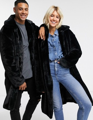 Another Influence unisex faux fur jacket in black