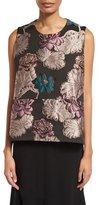 Co Floral-Brocade Trapeze Sleeveless Blouse, Multi