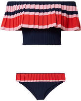 Tabula Rasa - Toque Off-the-shoulder Ribbed Stretch-knit Bikini - Navy