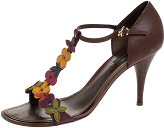 Louis Vuitton Brown Leather Aubepine Floral T-Strap Sandals Size 39.5