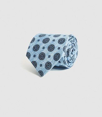 Reiss TROPEZ COTTON MEDALLION TIE Soft Blue