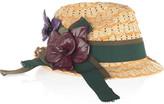 Floral-embellished raffia trilby