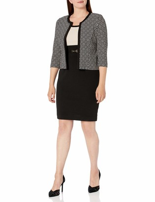 Sandra Darren Women's 2 PC 3/4 Sleeve Bullet Diamond Printed Jacket Dress Set