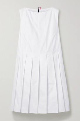 Thom Browne Pleated Cotton Oxford Dress - White