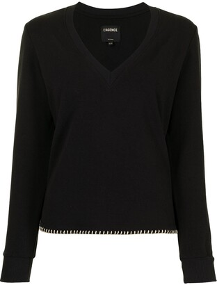 L'Agence Helena V-neck cotton jumper