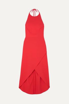 Alice + Olivia Kristy Wrap-effect Crepe Halterneck Dress - Red